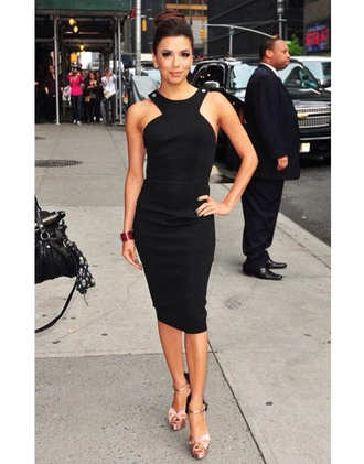 dress eva longoria twist black halter neck dress knee length victoria beckham dress