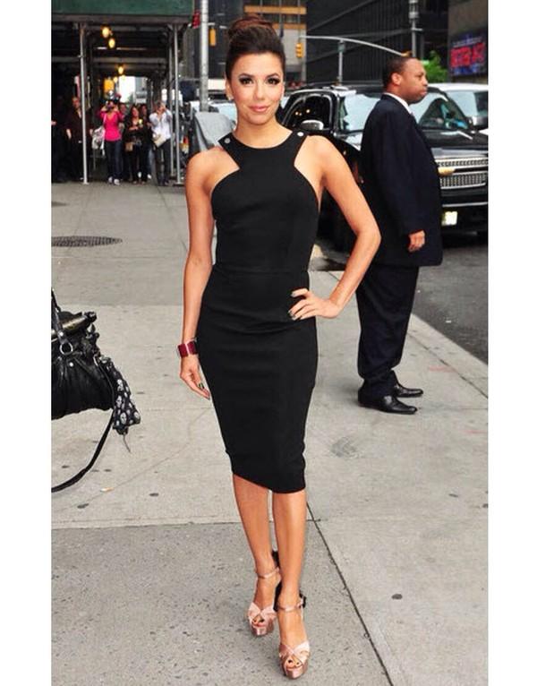 dress eva longoria twist black halter neck dress knee length victoria beckham dress