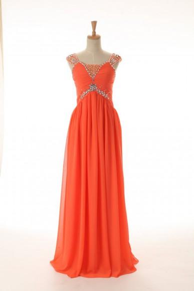 orange dress chiffon prom dress long prom dress cap sleeve dress evening dress cheap prom dress evening dresses