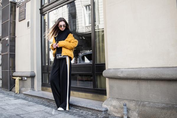 fashion agony blogger pants shoes bag sunglasses yellow jacket spring outfits black pants