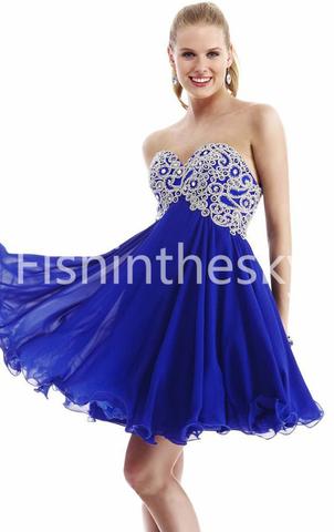 US $114.99 | 2014 Homecoming Dresses A Line Short/Mini Sweetheart Lace Up Dark Royal Blue Chiffon Beadings&Sequins