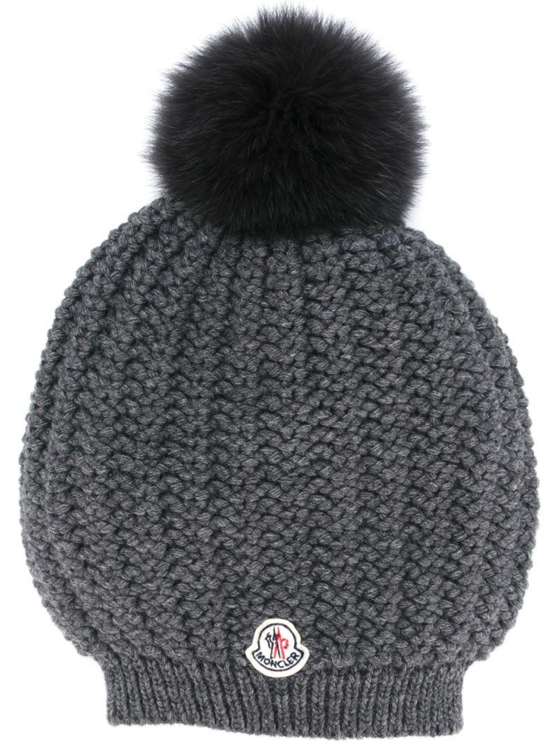 07887664451 Moncler ribbed knit beanie. Moncler fur pom pom beanie in grey