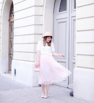 skirt french girl midi skirt pink skirt tulle skirt sandals hat top white top bag sun hat spring outfits