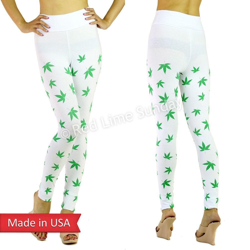 White Cotton Pot Weed Marijuana Cannabis Print High Waist Leggings Tights USA