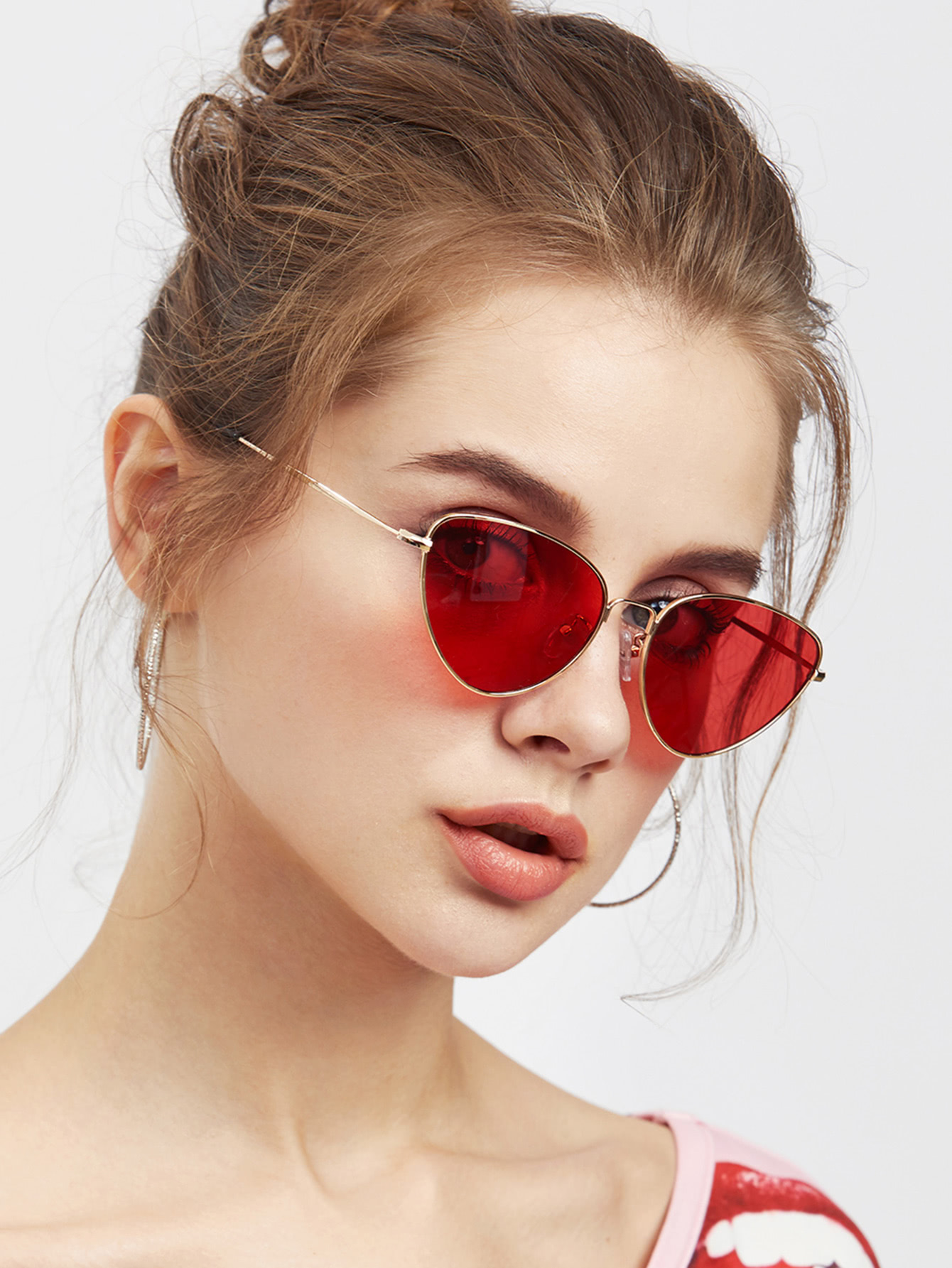 e1fa2be899 Oval Shaped Flat Lens Sunglasses -SheIn(Sheinside)