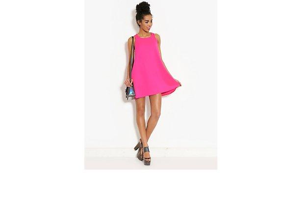Ribbon Neon Textured Swing Dress - BANK Fashion