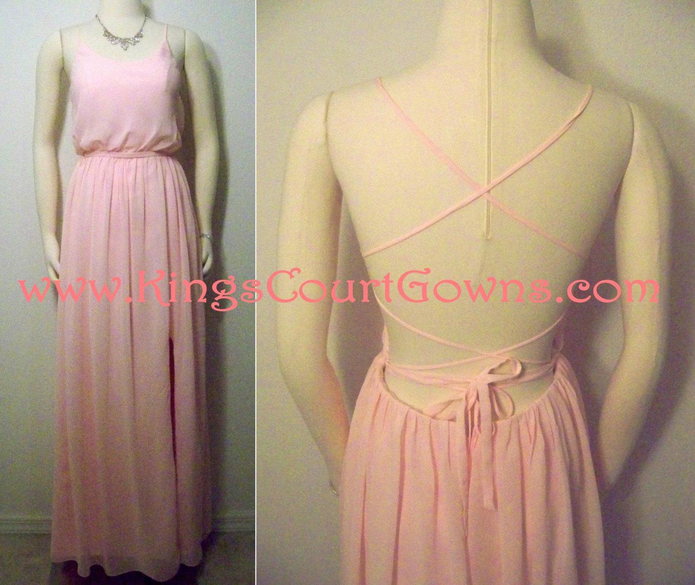 Replica backless pink lavender boho chiffon prom homecoming graduation dress gown