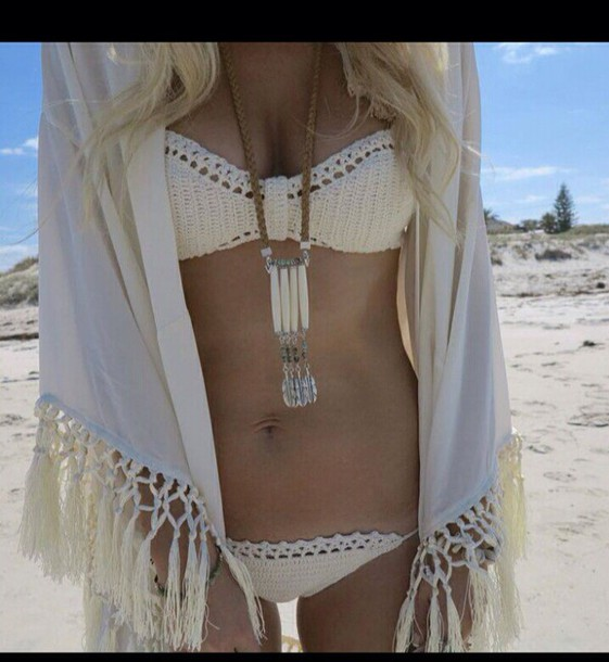 swimwear crochet crochet bikini bikini white swimwear summer outfits cardigan
