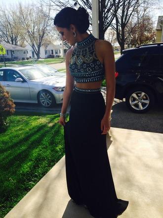 prom dress dress skirt top black sparkle sherri hill