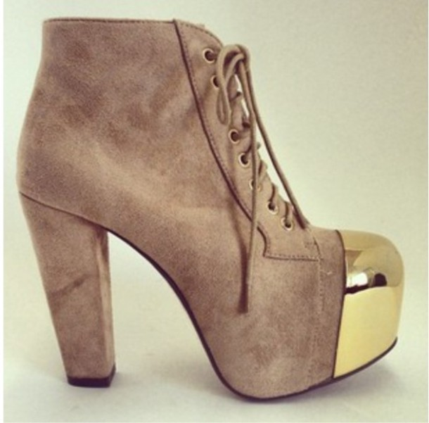Shoes High Heels Booties Gold Tip Booties Lace Up Ankle Boots