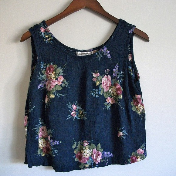 floral flowers roses tank top dark blue top vintage