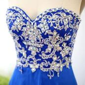 dress,prom dress,vowslove,long prom dress,evening dress,royal blue dress,embroidered,strapless,beaded dress,sweetheart dress,sweetheart neckline,satin dress