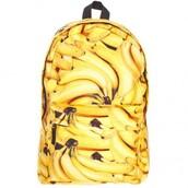bag,backpack,banana print,yellow,back to school,cool,teenagers,trendy,boogzel