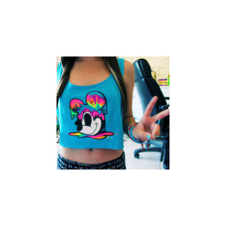 colorful blue shirt tank top crop tops mickey mouse