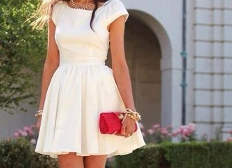 dress white white dress beautiful white dress prom dress wedding guest gold jewelry cute dress summer dress skater dress style pretty simple dress cute adorable dress lovely flowy flowy dress fashion outfit gorgeous gorgeous dress bride summer kneelength