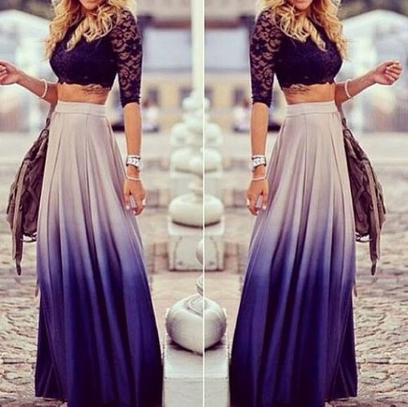 bicolor skirt degradé fashion girl amazing love it blue skirt maxi skirt