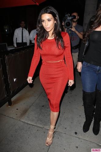 red matching set red dress kim kardashian crop tops elegant skirt