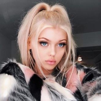 coat loren gray faux fur grey white pink black