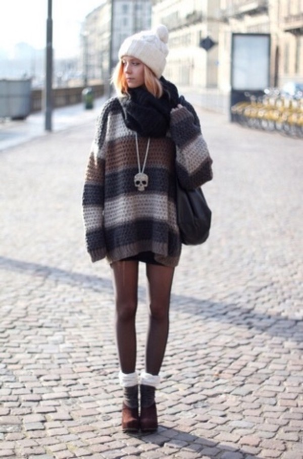 sweater tights knitted sweater beanie bag knitted scarf hat scarf sunglasses shoes underwear jewels blouse leggings