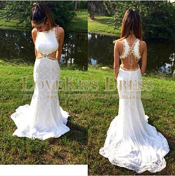 White Lace Prom Gowns