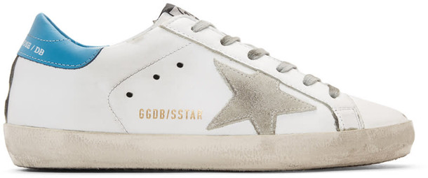 Golden goose sneakers white blue shoes