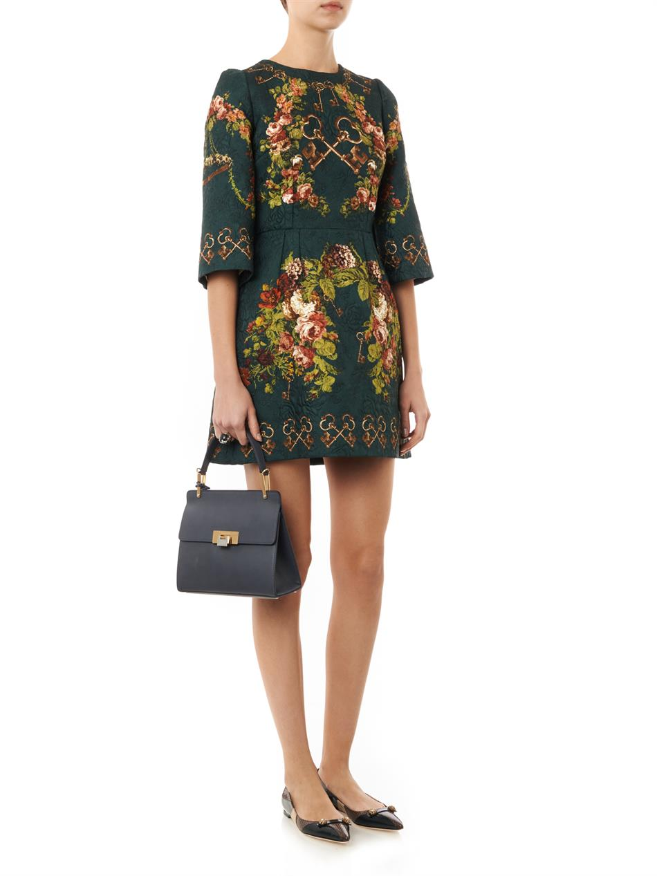 Floral and key-print brocade dress | Dolce & Gabbana | MATCHES...