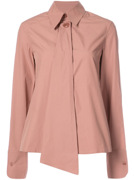Lemaire - asymmetric buttoned shirt - women - Cotton - 42, Pink/Purple, Cotton