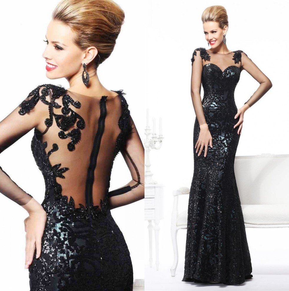 Sexy Long Sleeve Black Mermaid Evening Dress For Women Formal Gown ...