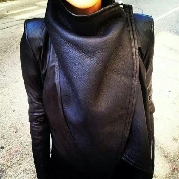 jacket leather jacket black leather perfecto asymmetrical coat sweater shirt biker