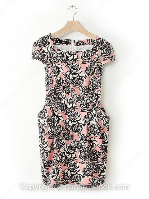 Pink Square Short Sleeve Floral Print Pockets Dress - HandpickLook.com