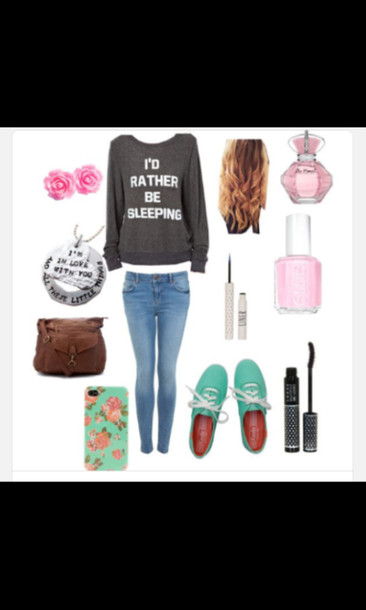 shirt i'd rather be sleeping sweater top jeans make-up shoes nail polish phone cover bag black sweater quote on it