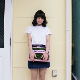 bag pastel pink white kawaii kawaii grunge shirt skirt t-shirt soft grunge denim skirt pastel pink accessories japanese fashion japan