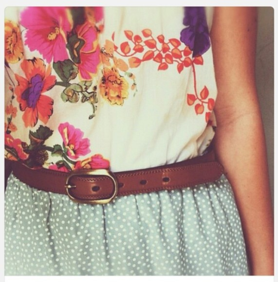 skirt vibrant floral blouse patterned belt