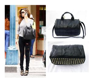 Trendy Studded Bottom Duffel Tote Messenger Bag Handbag Satchel UK ...