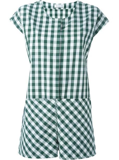 Gaelle Bonheur 'Tuta Fantasia Vichy' checked playsuit in green