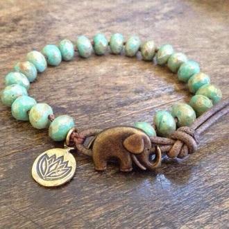 jewels bracelets green beads elephant