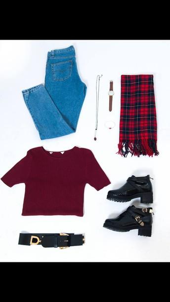 t-shirt tartan scarf boots crop tops boyfriend jeans