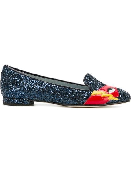 Chiara Ferragni glitter women slippers leather blue shoes