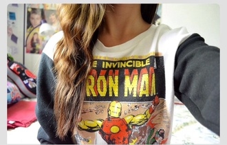 sweater iron man hoodie cool hipster iron menswear cartoon comics winter outfits outfit forever 21 school outfit black white the avengers marvel marvel superheroes swag warm sweater robert downey jr blouse top shirt superheroes shoes