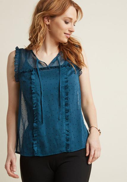Mct1448 blouse top chiffon sheer velvet teal green