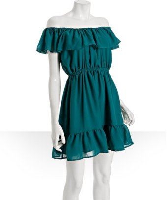 Shumaq teal silk blend 'sarah' ruffle trim dress at bluefly