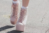 shoes,boots,girly,heels,jeffrey campbell,light pink,pastel,pastel pink