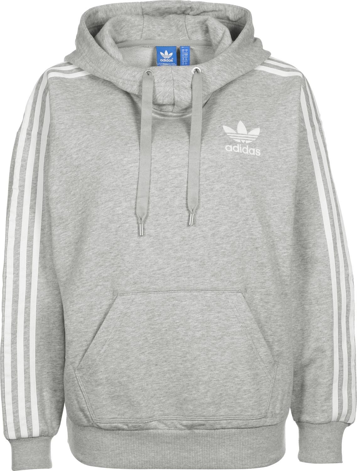 adidas 3 stripe w hoodie grau meliert. Black Bedroom Furniture Sets. Home Design Ideas