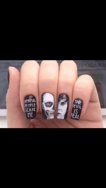 nail accessories american horror story evan peters nail art black and white nail polish