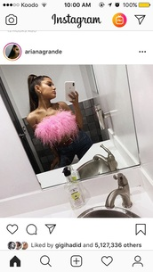 shirt,pink,ariana grande,pink top,fur,top,instagram,feathers,celebrity,t-shirt