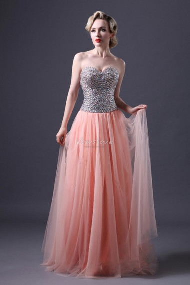 Pink tulle a line sleeveless sweetheart neck bodice with beads and sequins prom dress vowslove.com