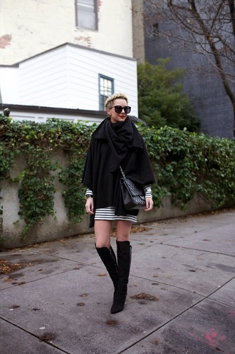 atlantic pacific blogger dress scarf bag striped dress knee high boots winter outfits sweater shoes
