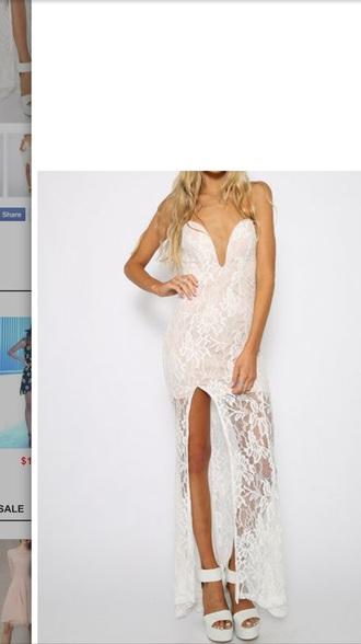 dress maxidress with splits white dress white maxi dress maxi dress lace dress sexy dress sexy party dresses nude dress