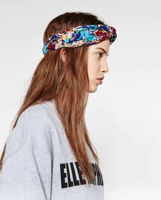 hair accessory zara turban silk scarf floral print spring accessory spring