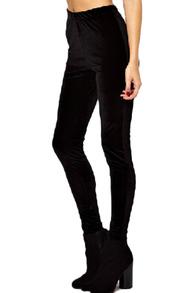 Rise sheer black velvet leggings